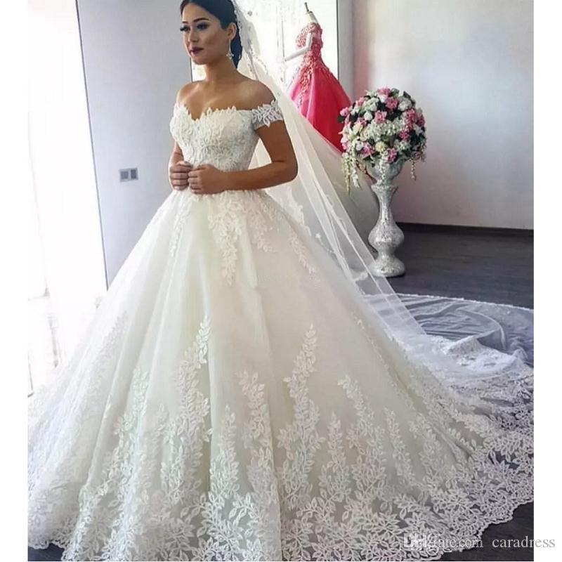 Discount Elegant A Line White Lace Wedding Dresses 2017 3d Floral Appliques  Tulle Spring Off Shoulder Vintage Plus Size Bridal Wedding Gowns Bridal ...