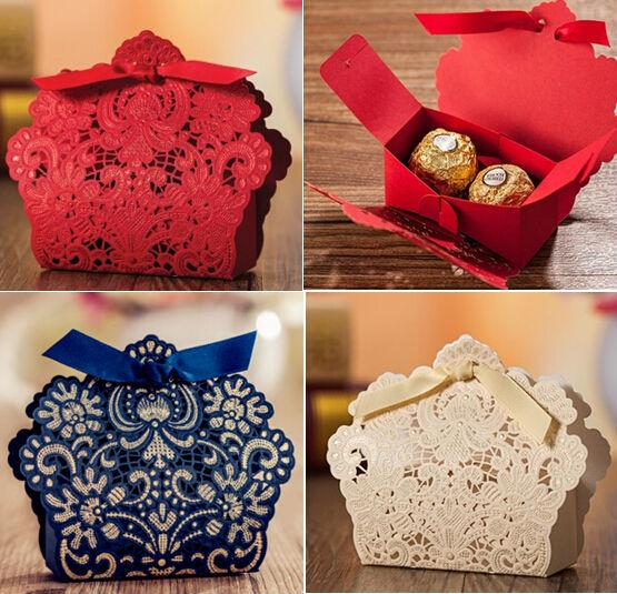 Perfect New Red Gold Royal Blue Pink White Bow Wedding Candy Box Favor Box  RZ05