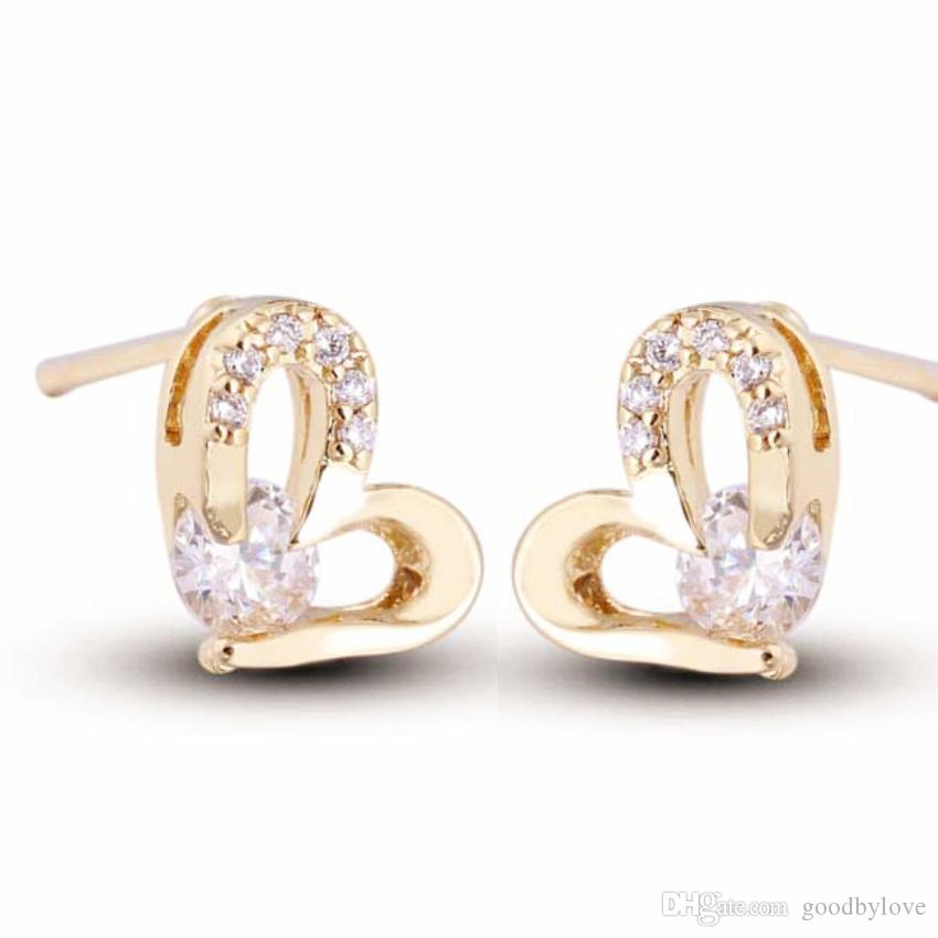 Mini Small 18K Yellow Gold Clear Crystal Cluster Cubic Zirconia CZ Heart Stud Earrings for Kids