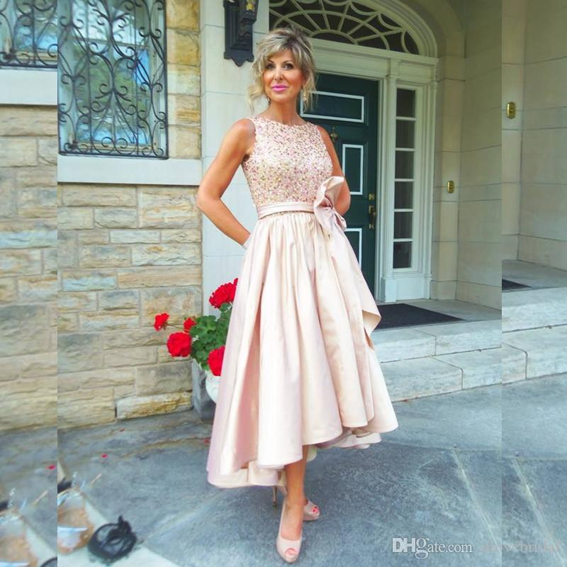 Country Blush Satin High Low Mother of the Bride Dresses A Line Sleeveless O Neck Wedding Party Guest Dress with Bow Plus size