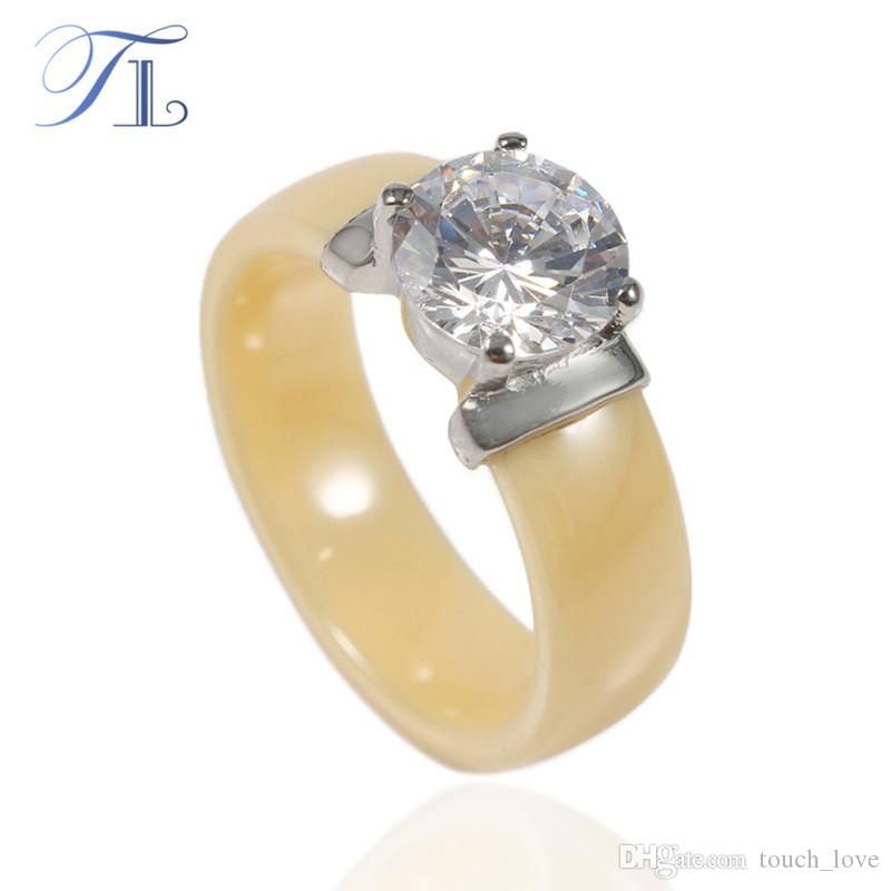2018 tl new arrival ceramic rings for women huge zircon cabochon setting yellow ceramic wedding rings cute simple unique design gift from touch_love - Ceramic Wedding Rings