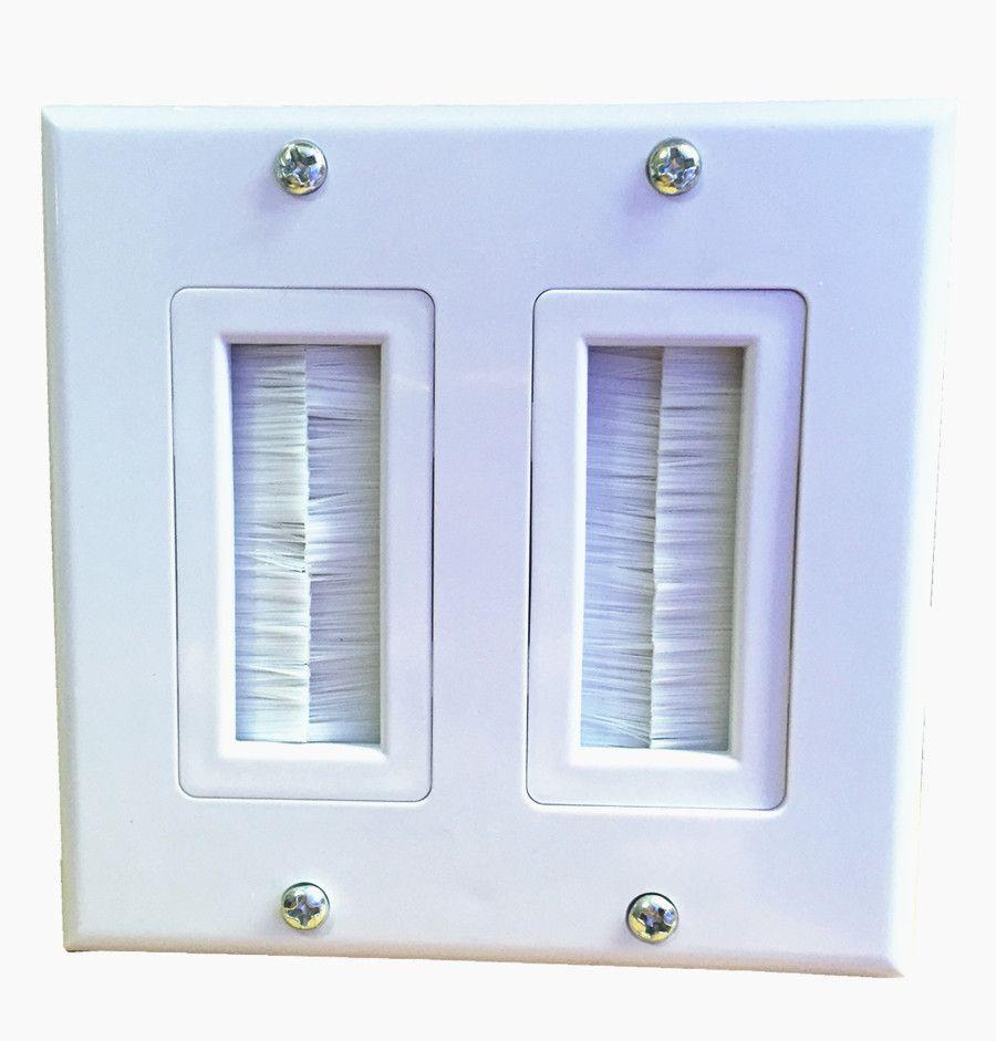 Cool Double White Brush Audio Av Cable Wall Plate Multifunctional Wiring Database Xlexigelartorg