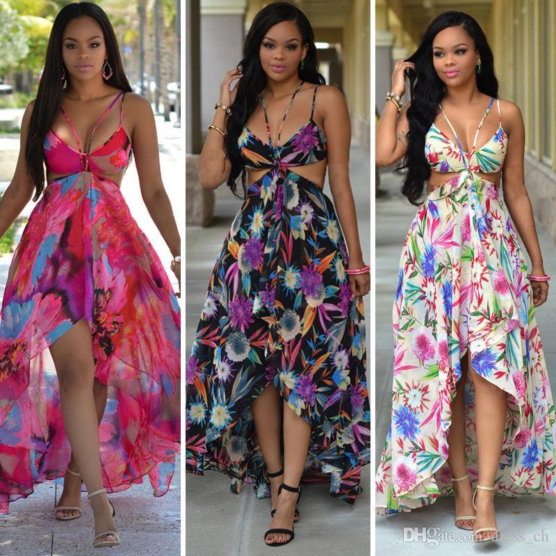 Chiffon Summer Flora Printed Slip Long Hippie Dress Flowy Backless ...