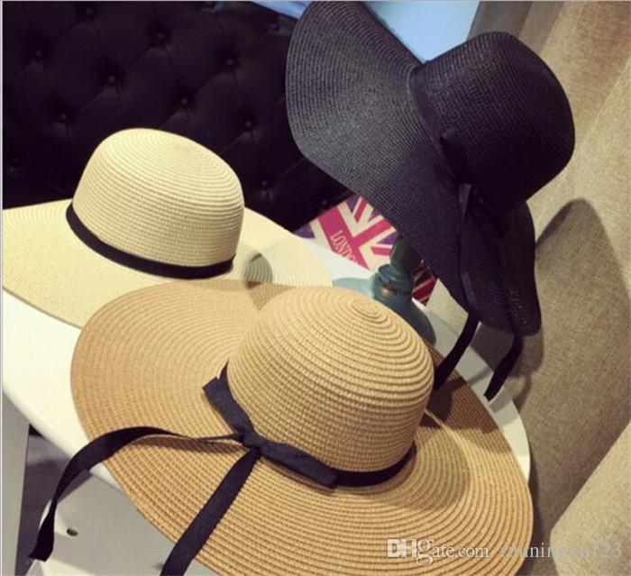 20pcs Women Large Floppy Foldable Straw Hat Boho Wide Brim Beach Sun Cap 3 Colors with Bow Summer Holiday R024