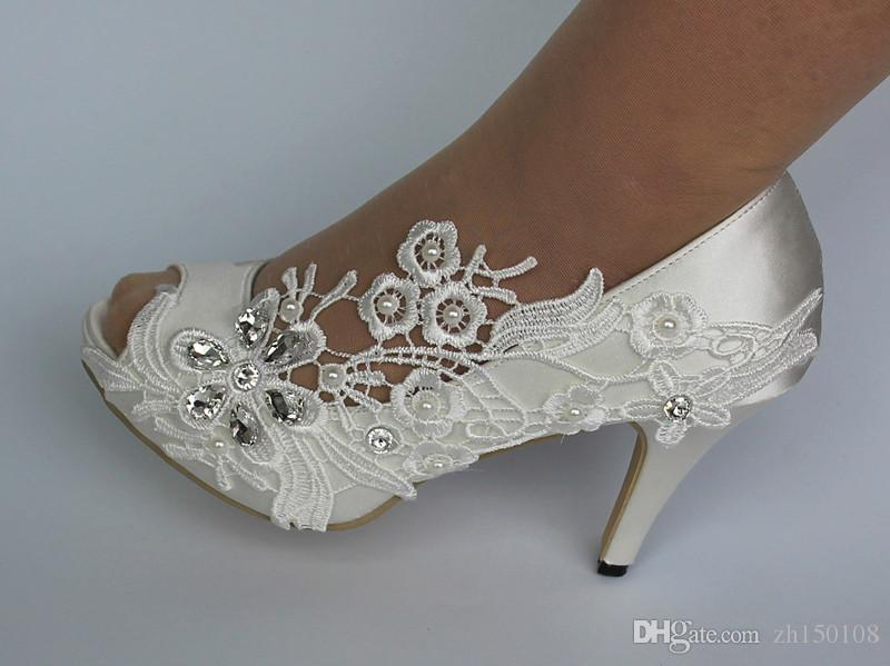 Cheap white silk lace open toe crystal Wedding Shoes Bridal Custom Made Dance Shoes For Wedding Activity Bridal Shoes