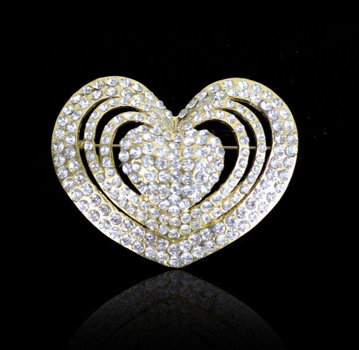 5CM Clear cheap price rhinestone brooch heart brooch in silver beautiful brooch for wholesale