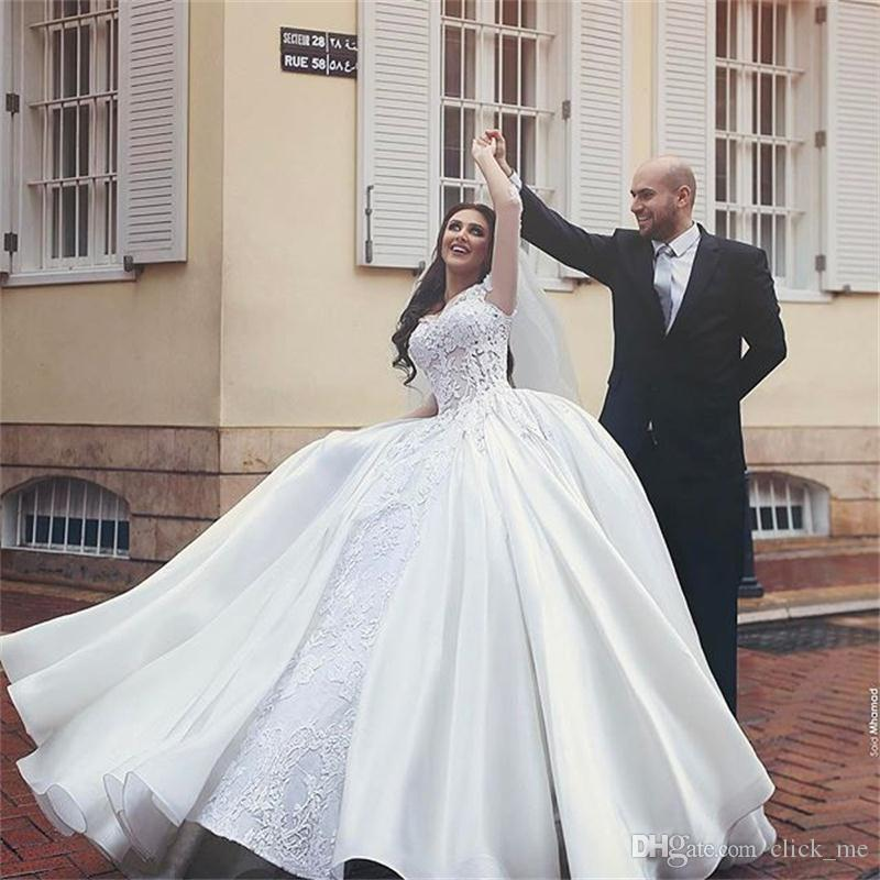 Discount Said Mhamad Lace Wedding Dresses With Overskirt