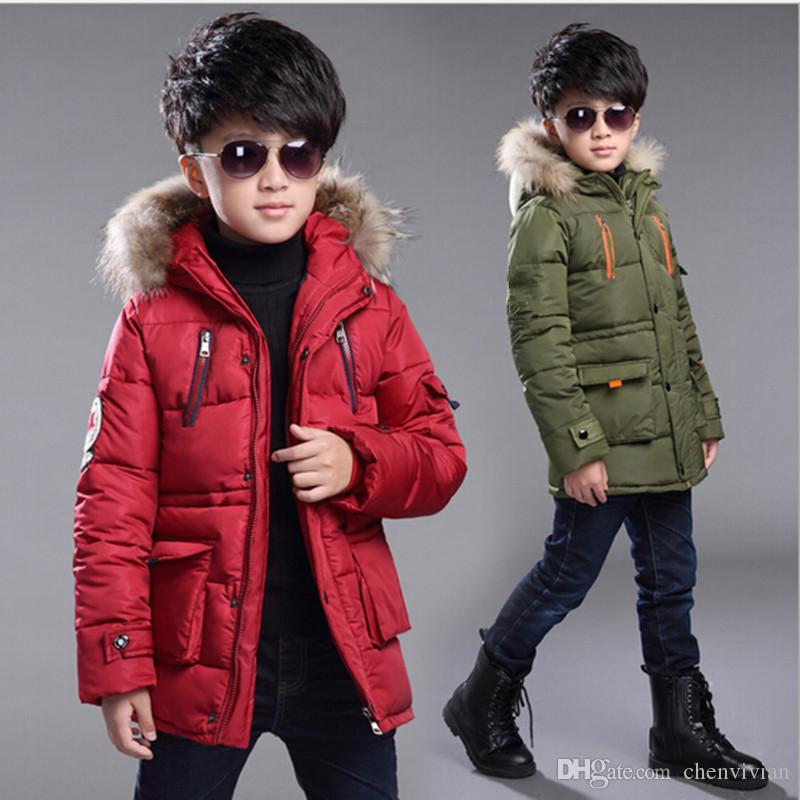 816e3abab 2017 Brand Boy Winter Warm Jacket Kids Coat With Fur Hood Boy Winter ...