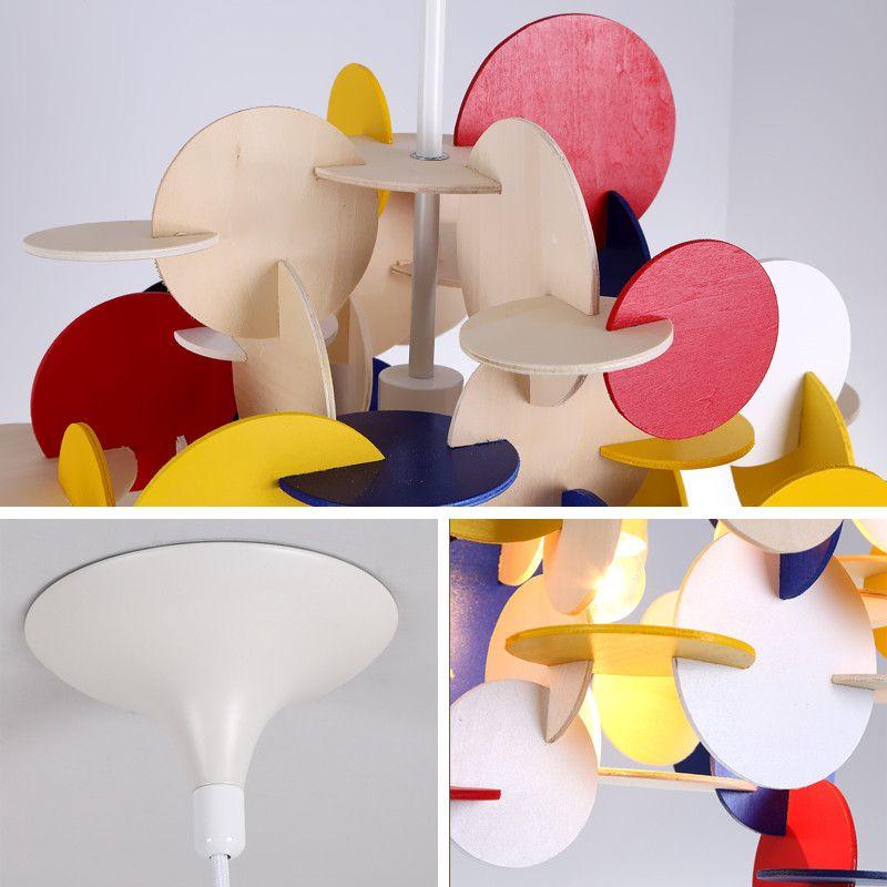 Modern LED Wooden Parquet Blocks Pendant Lamp Kid's Ceiling lamp Chandelier New