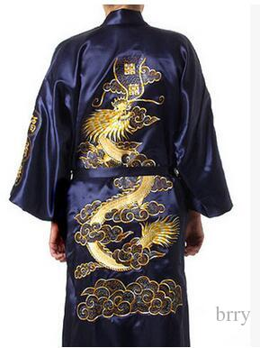 Wholesale-Fashion Navy Blue Men's Satin Silk Nightwear Novelty Bath Gown Vintage Style Kimono Size S M L XL XXL MR007