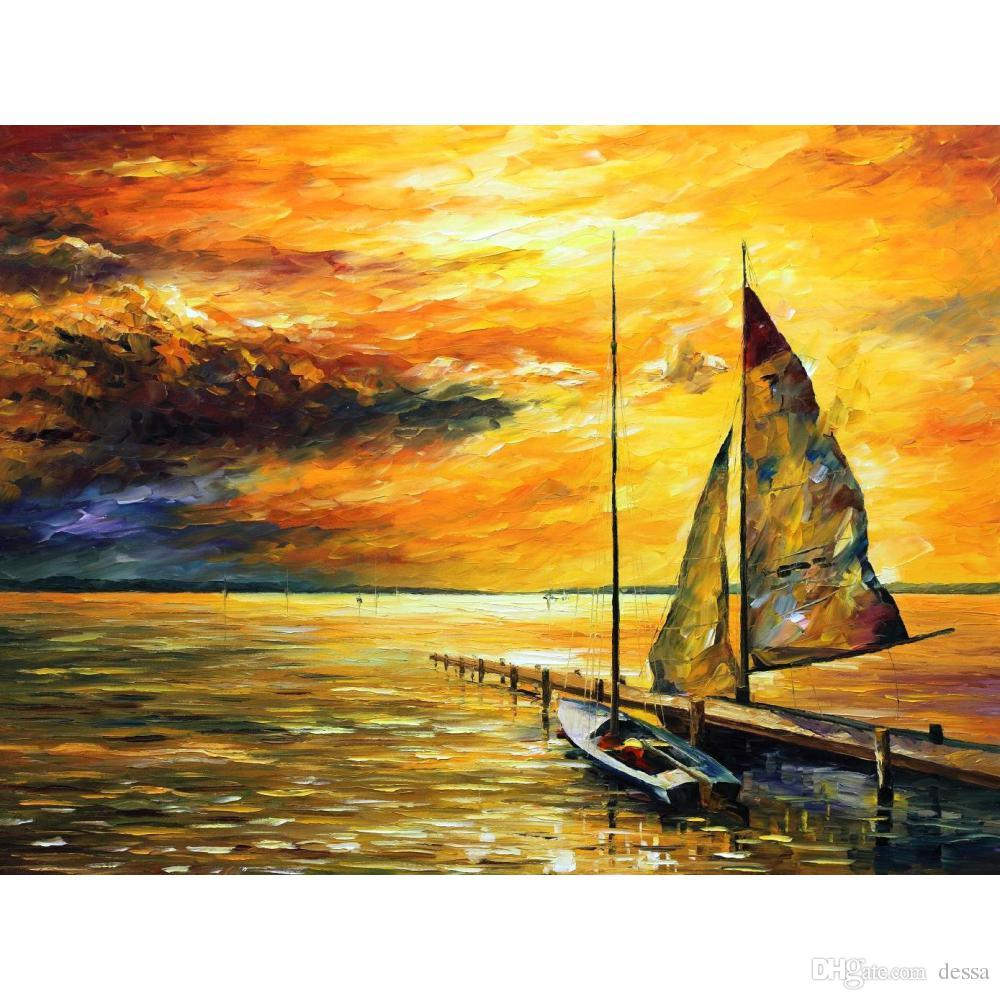 2018 Handmade Oil Paintings By Leonid Afremov Sailing Away Seascapes ...