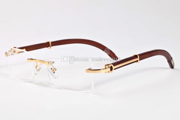 14 Farben Heißer Verkauf Natürliche Sonnenbrille randlos Holz Schwarzbüffelhörner Herren-Gläser für Frauen Luxus Brille Brille Größe: 55-140mm