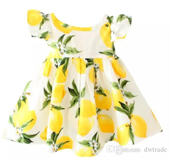 11 Designs Cherry lemon Cotton backless girls floral beach dress cute baby summer backless halter dress kids vintage flower dress