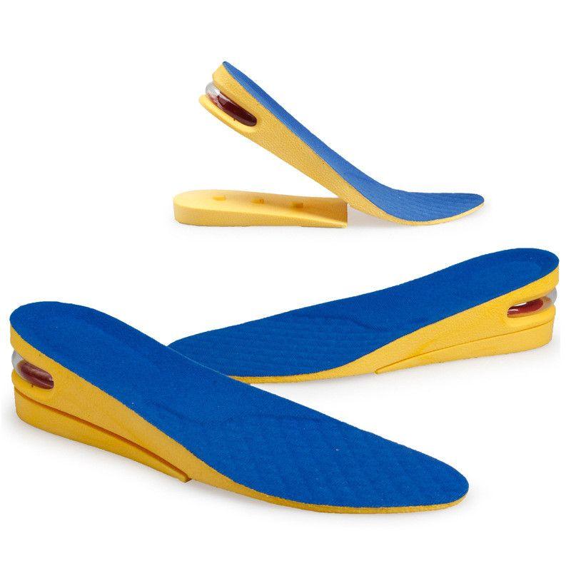 2 capas de los hombres de la plantilla PU aumento de la altura de 5 cm de elevación del cojín del zapato del amortiguador de aire para botas y de alta top zapato Plantillas