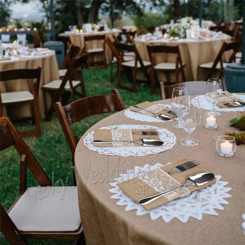 Jute Lace Cutlery Pocket Burlap Knife and Fork Bag Vintage Wedding Tableware Bag Rustic Bomboniere Decors