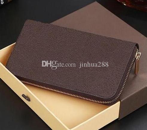 Toptan fiyat moda erkekler ve kadınlar marka tasarımcısı debriyaj 60017 kutusu ile hakiki deri cüzdan Zippy