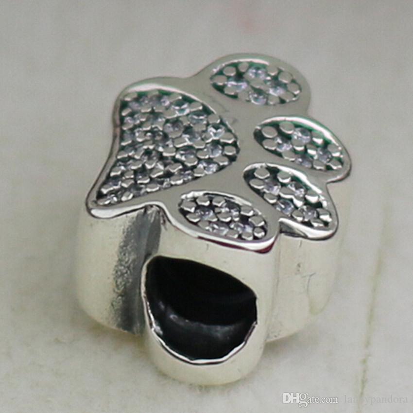 La pata imprime el grano de plata esterlina del encanto S925 con Cz claro adapta a las pulseras europeas de la joyería de Pandora Collares Colgante