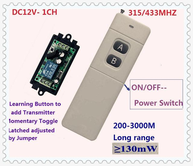 Wholesale- 3000m Long Range Remote Control Switch DC 12V 1 CH 10A Relay  Receiver Transmitter Learning Light Lamp Wireless Switch 315/433MHZ
