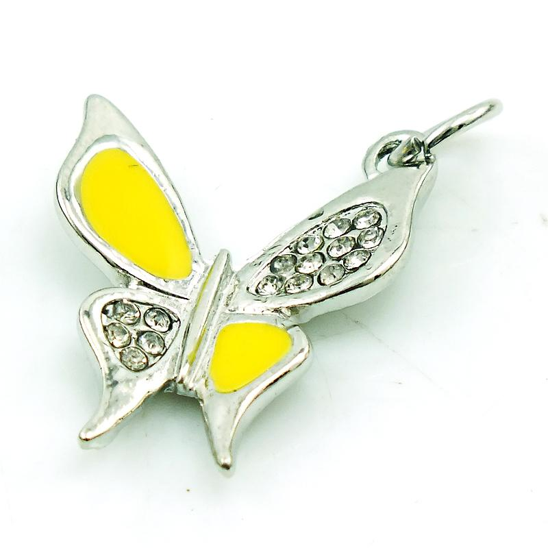 Wholesale Fashion Animal Charms Silver Plated Rhinestone Yellow Enamel Butterfly Charms DIY For Jewelry Making Accessories