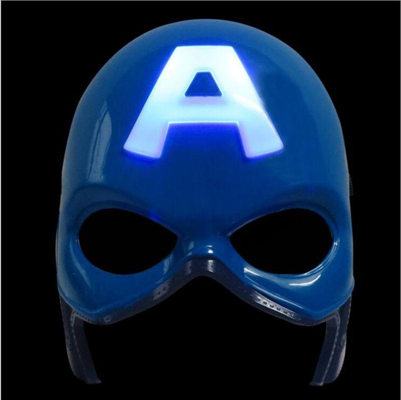 복수 자 LED 플래시 빛나는 마스크 슈퍼 영웅 캡틴 미국 스파이더 맨 철 남자 조명 마스크 키즈 할로윈 만화 파티 마스크