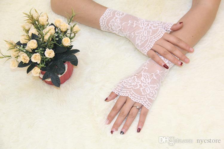 Guanti semilavorati con protezione solare moda Guanti estivi con gancetto floreale in jacquard da donna in pizzo anti-UV