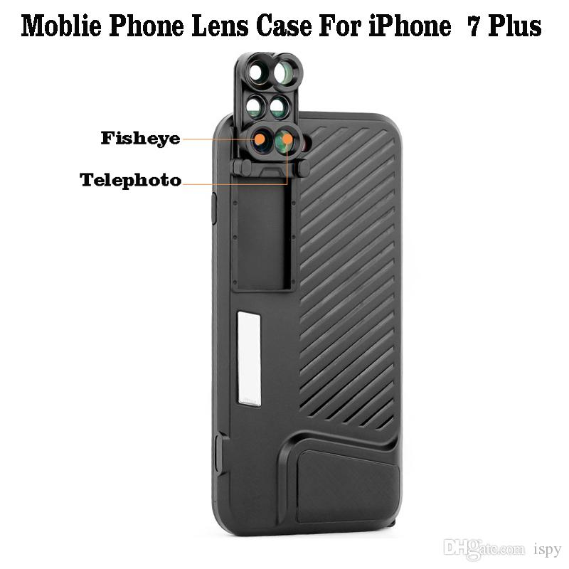 pretty nice f63ff 4a3f3 2019 iPhone 8 Plus Dual Camera Lens Fisheye Wide Angle Macro Lens Telescope  Lens For Apple iPhone 7 Plus/8 Plus Phone Case Black
