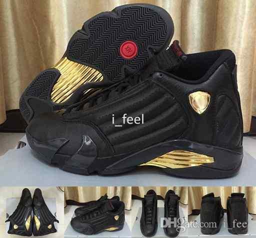 NEW Cheap 14 DMP Basketball Shoes Black Gold Deigning Moments Package Sneakers Sport Shoes with Original Box US 8-13 buy cheap official site LBb0yzNh
