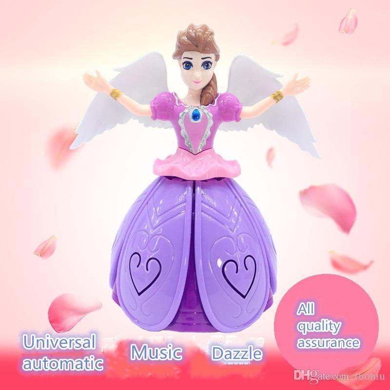 Venda quente nova de 360 graus de dança elétrica princesa luz música rotativa brinquedo das crianças anjo melhor presente de Natal