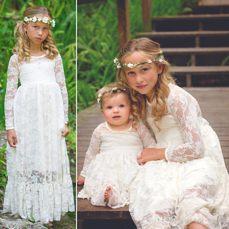 Винтажный шнурок девушка цветка для длины Свадьбы Длинных рукавов покрытия Дешевых девушек Pageant платье Дети принцесса Причастие платья