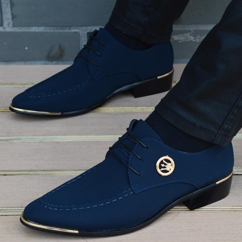 2017 New Fashion Men Dress Shoes Oxfords For Men Canvas Leather