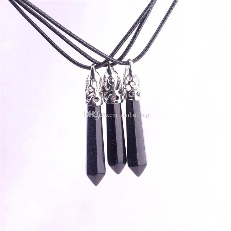 Galaxy Stone Blue Sand Point Stone Cosmic Black Crystal Healing Reiki Chakra Pendant Gem with Genuine Leather Chain Necklace 18'' Inches