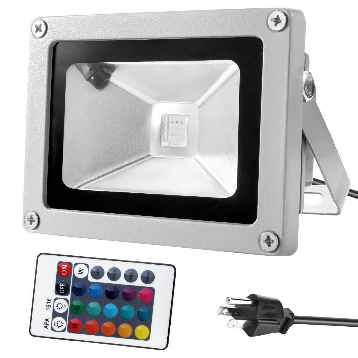 10W Impermeable LED Luz de inundación 24Key IR Control remoto RGB Led Lámpara de paisaje al aire libre Proyector Luz proyectores 85-260V