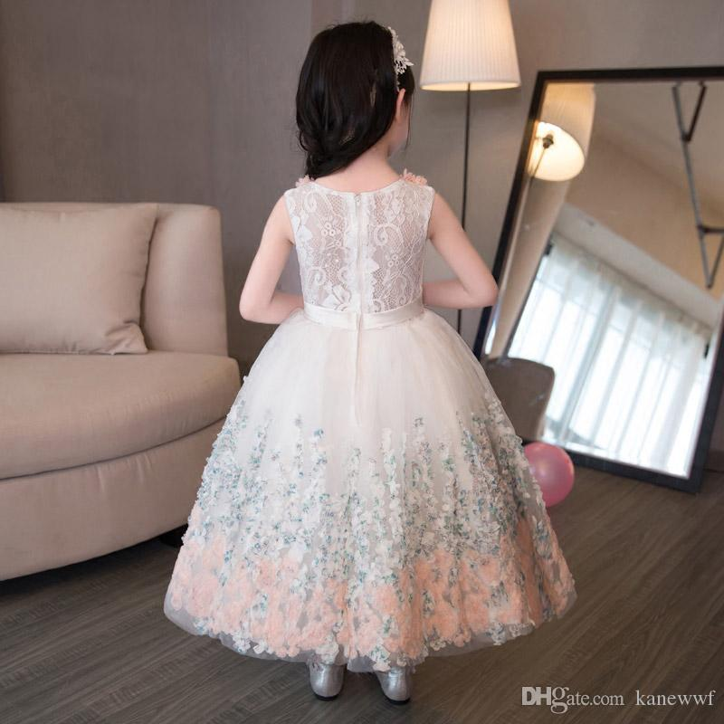 Top Quality Elegant Appliques Pizzo Girls Abito da sposa Flower Girl Dress Girls Compleanno Prom Provengal First Communione Gown Baby Battesm Abito