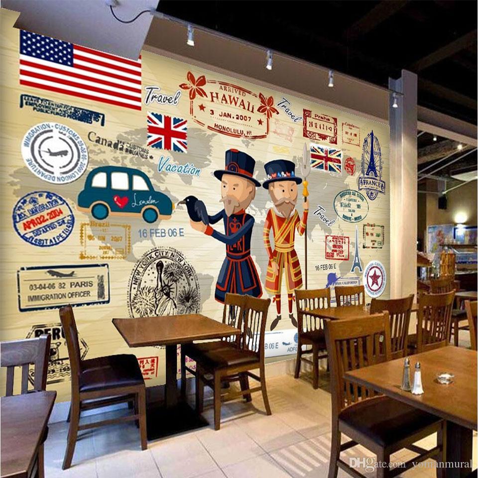 Пользовательские обои европейский американский уличный диван фон настенные покрытия кафе-бар ресторан гостиная обои большой настенной росписи