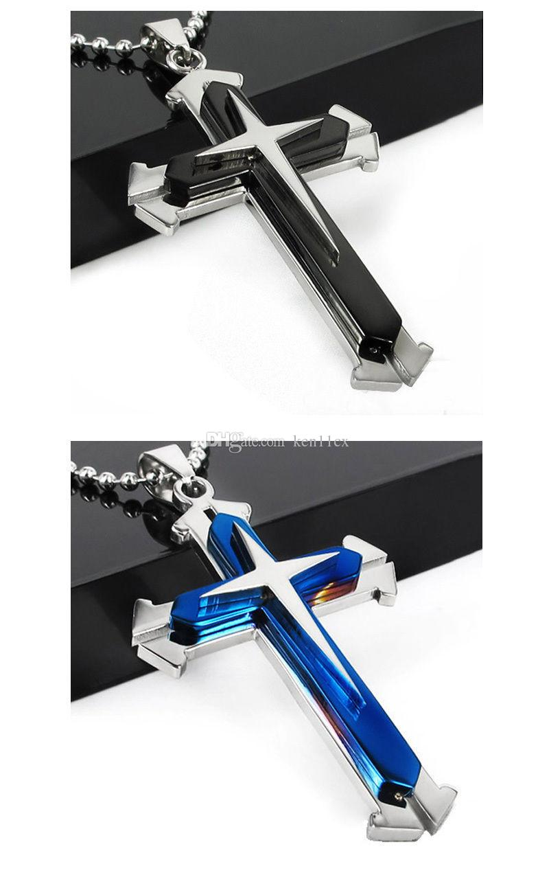 New three layers cross Pendant High Quality Blue Black Silver Stainless Steel Cross Pendant Men's Necklace Chain