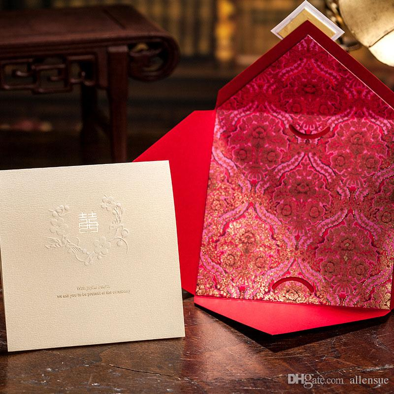 marriage wedding card customized red wedding invitations chinese style with envelope engagement invitation card wishmade cw031 make your own wedding - Red Wedding Invitations