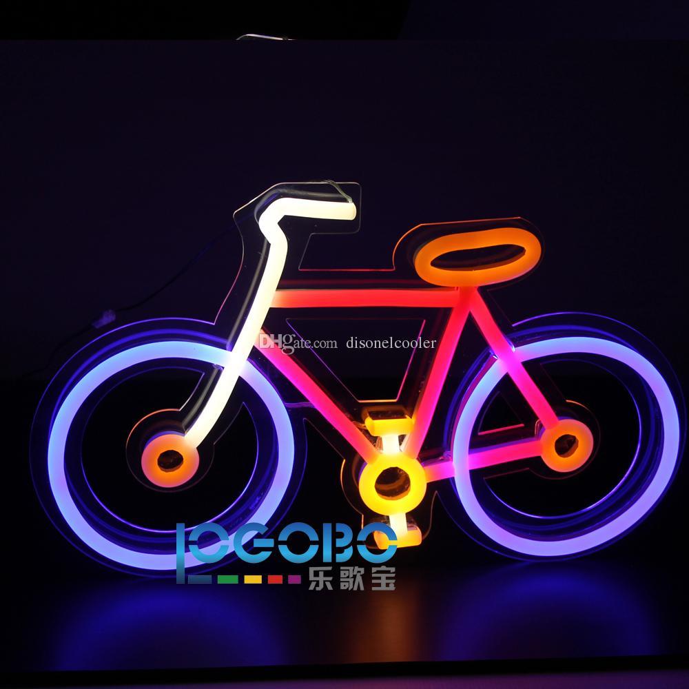Pas cher Personnalisé Vélo Fluorescent Cool Mur Lumière Au Néon Led Signes pour Club Shop Bar Motel Home Home Décorations 20 pouces x 12 pouces