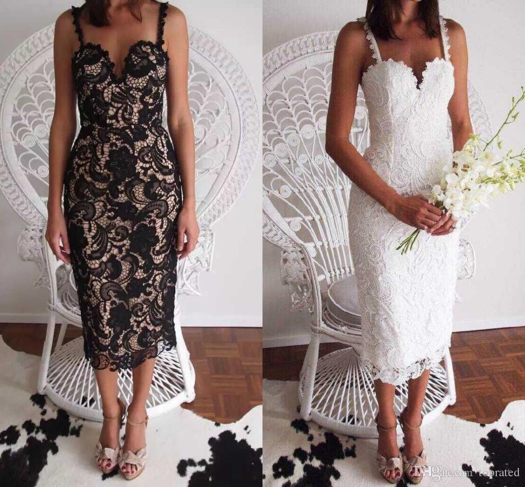 b2886f27ffe2 Spaghetti Strap Beach Party Dress 2018 Black White Sheath New Hot Sexy  Sweetheart Lace Prom Tea Length Cocktail Dresses Party Gowns Cheap Dresses  For Women ...