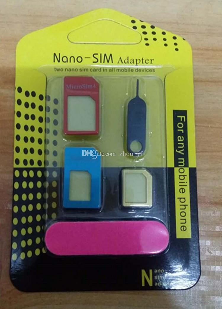 Acheter 5 En 1 Metal Nano Carte Sim Vers Micro Adaptateur Standard Convertisseur Set Pour Iphone 4 4s 5 5c 5s 6 6s 7 7plus 8 8plus X Samsung De 027
