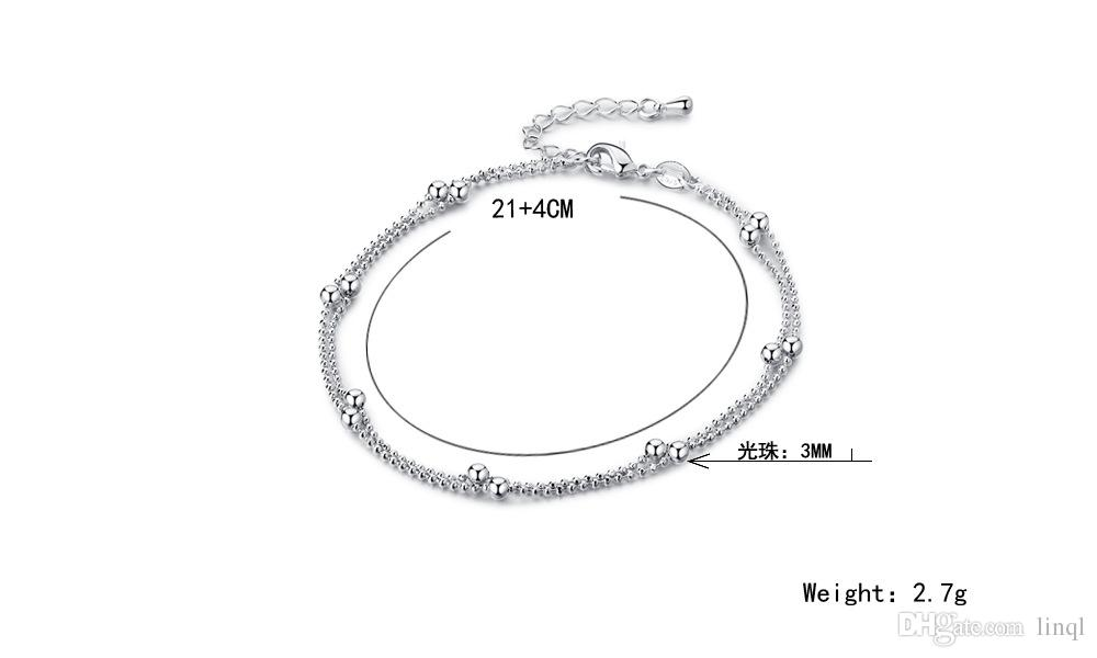 Sexy ankle bracelets beach jewelry 2017 new 925 Sterling silver Double layers anklets jewelry for Women Boot Foot Free ship N1