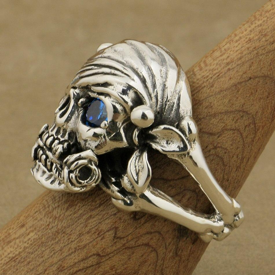 LINSION 925 Sterling Silver Pirate Skull Ring Rose Blue CZ Stone Mens Biker Rock Punk Style 9W101 US Size 7 to 15