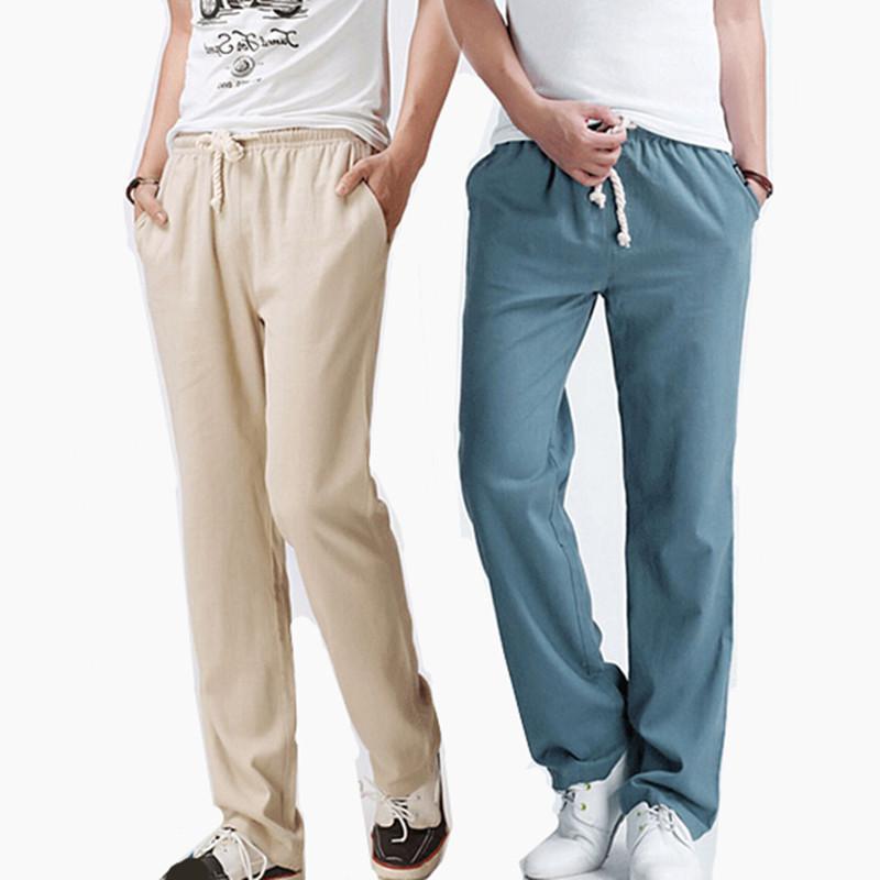 3261ca860e Wholesale-2016 Summer Men Linen Trousers Big Size Casual Mens Jogging Pants  M-5XL Men's Fashion solid color comfortable Loose Linen pants