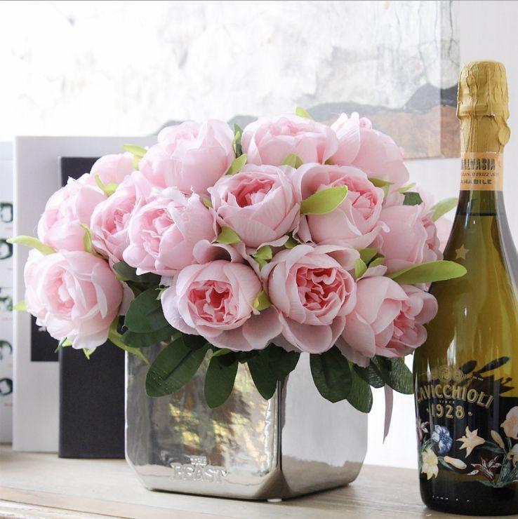 Real touch Rose bouquet 10 heads cheap flower wedding foam flowers arch decorations bouquet party decorationcraft supplies hydrangea