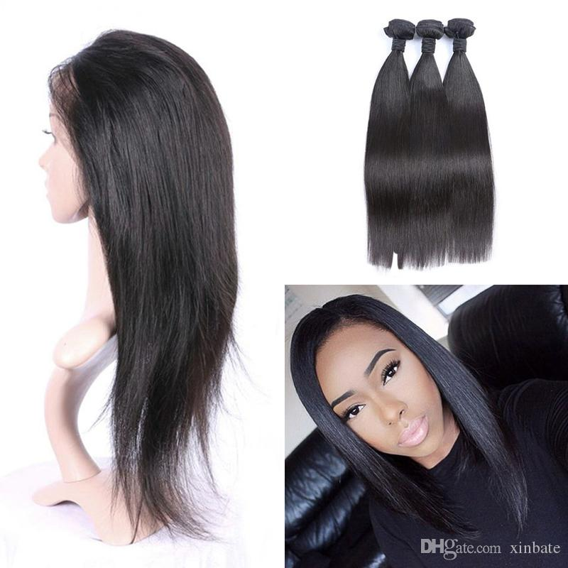 Brazilian Human Hair Sew In Weave 360 Frontal With Bundles Closure