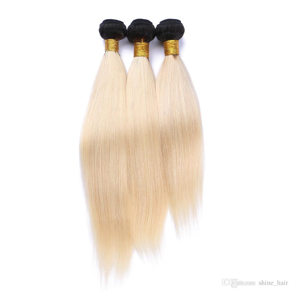 9A Brezilyalı Sarışın Ombre Virgin İnsan Saç 3 Adet Ipeksi Düz Örgüleri Uzantıları Iki Ton 1B / 613 Bleach Sarışın Ombre İnsan Saç Demetleri