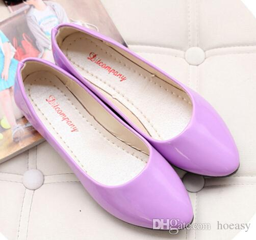Wholesale-solid candy color shoes women flats new ballet princess shoes for Casual Slip On Shoes Ladies Faux Leather