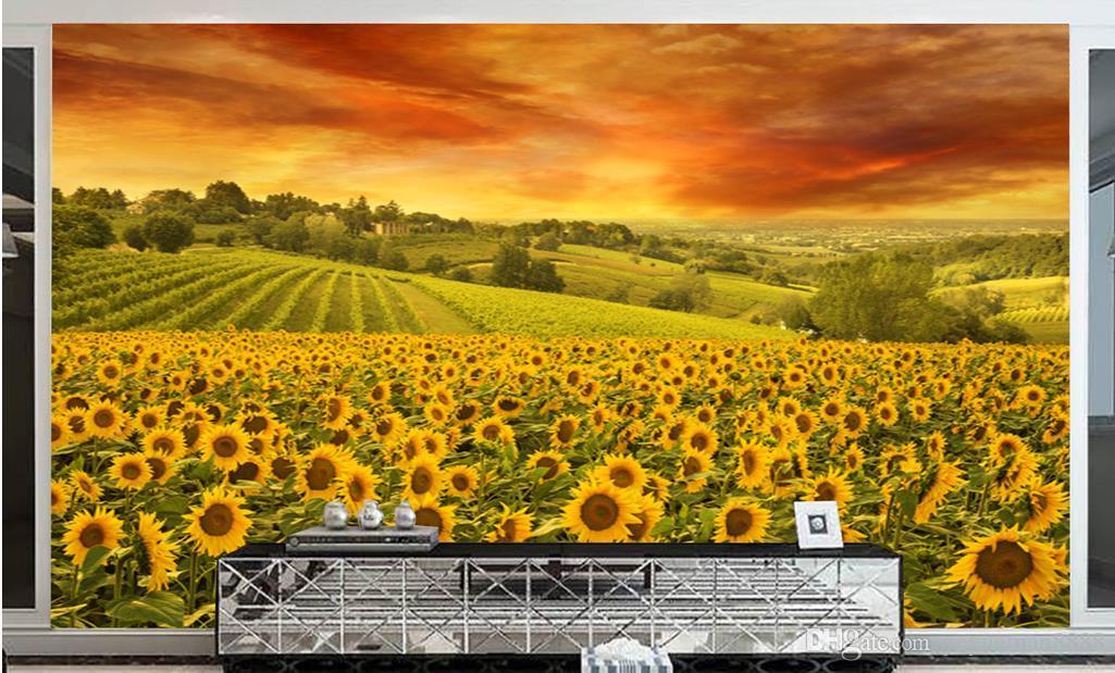 Personalizzato 3d murale Girasole sfondo angelo carta da parati murales carta da parati astratta papel parede tijolo