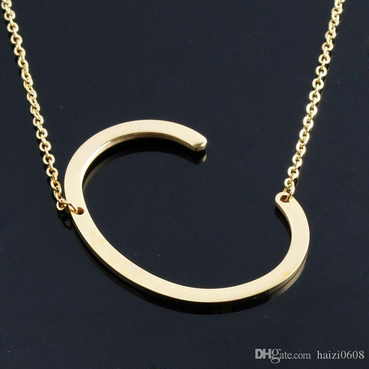 Host Sale Sideways Personalized Letter Name Initial Gold Silver Plated Stainless Steel Necklace Pendant For Women Best Gift