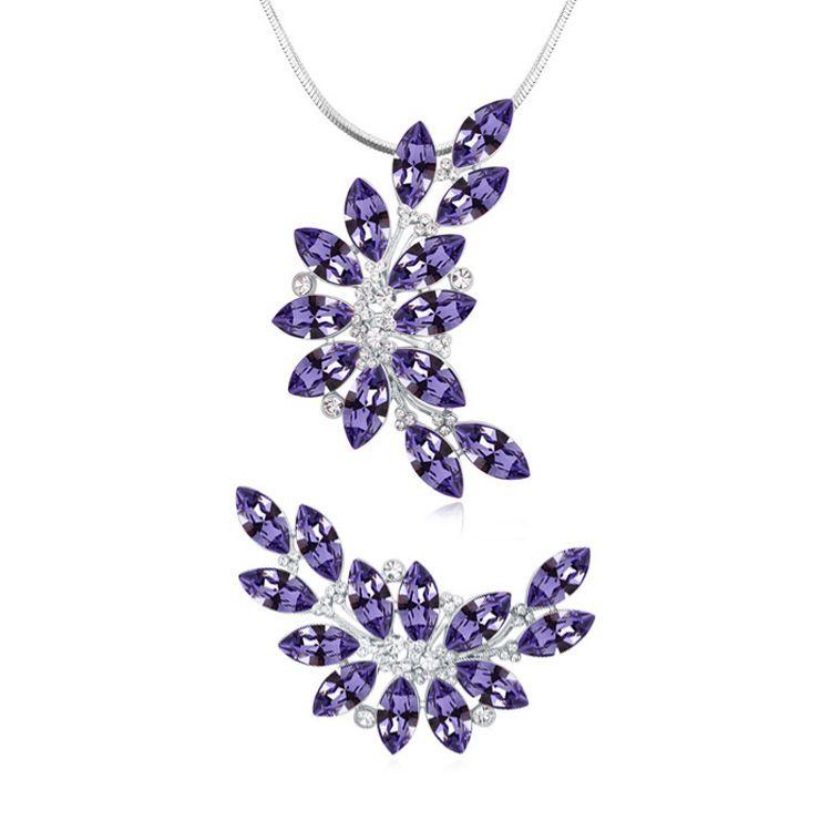 2017 Hight Quality Fashion Fine Party Jewelry Charm Lady Brand Collar de Cristal Austriaco Broches Joyería Conjunto Envío Gratis