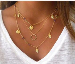 Fashion Gold Layered Long Necklace Amethyst Stone Charms Necklace Collier Plastron Body Necklace Set Layer Statement Necklace New Arrival